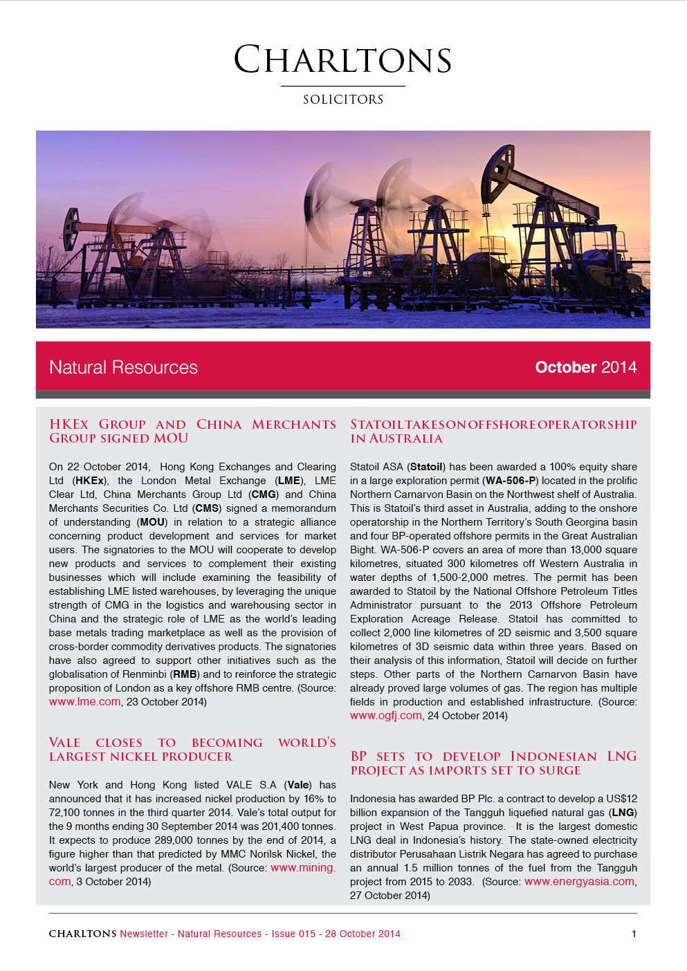 Charltons Natural-Resources-Newsletter HKEx-Group-and-China-Merchants-Group-signed-MOU-20141028-15-1